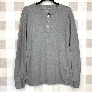 🔑 American Eagle Long Sleeve Henley Shirt Gray M